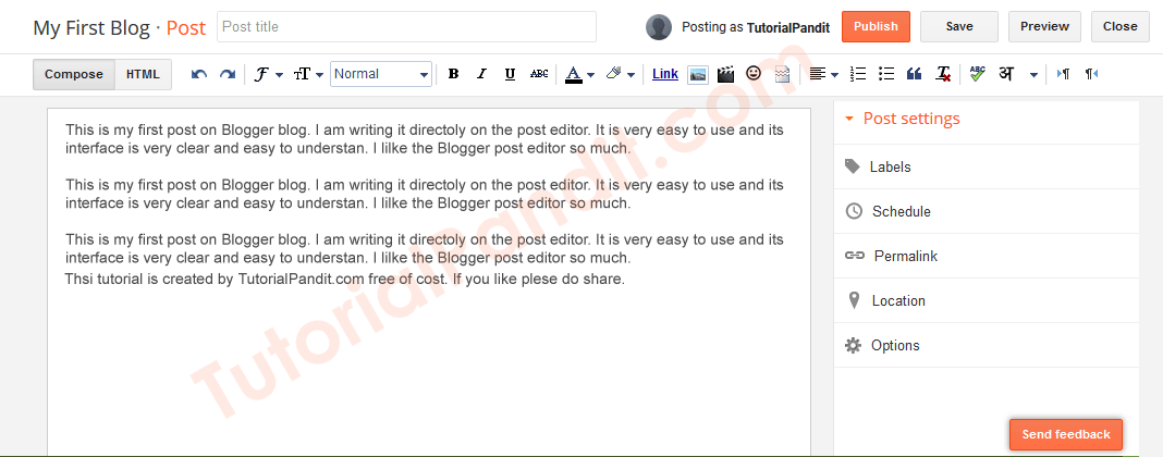 Write Your Post Content in Blogger Post Editor