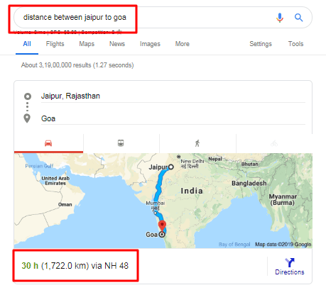 Google Maps Showing Distance Between in Hindi