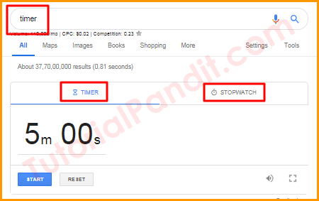 Google Timer and Stopwatch in Hindi