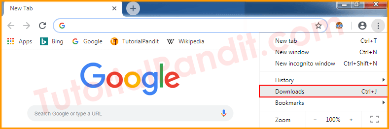 Download in Chrome Browser Menu