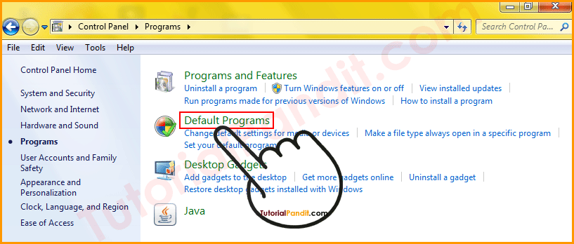 Click on Default Programs to Set Chrome Default Browser