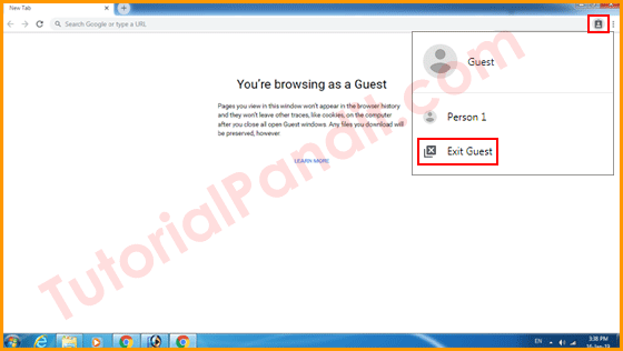Exit Guest Window to Close Guest Browsing in Chrome in Hindi