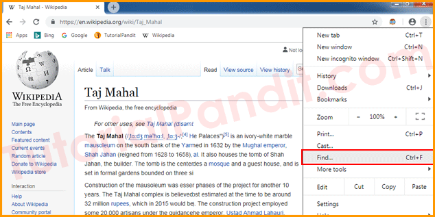 Open Find Tool in Chrome Browser in Hindi