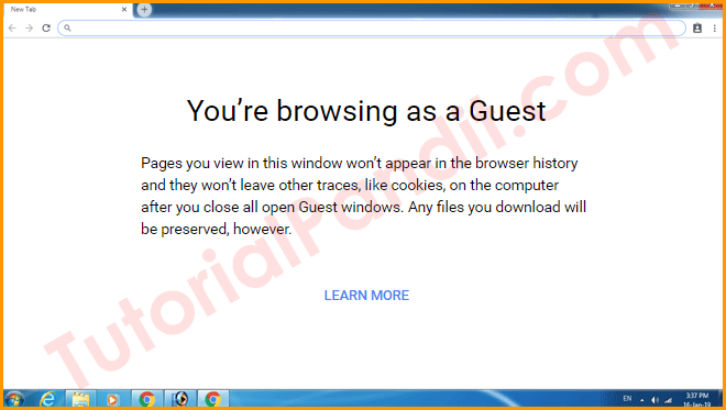 Guest Window in Chrome Browser