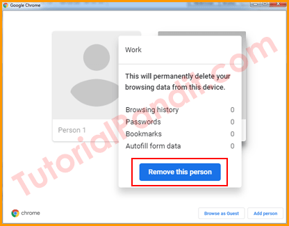 Select Remove This Person to Remove Users from Chrome in Hindi