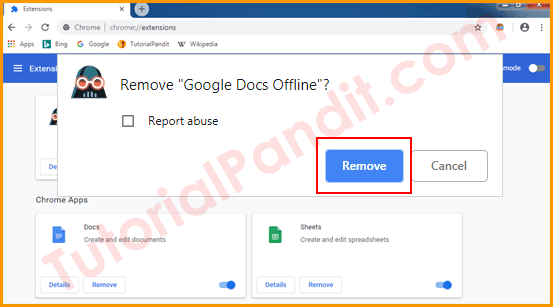 Select Remov to Confirm Removing Extension from Chrome Browser in Hindi