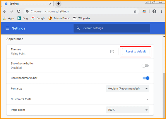 Click on Reset to Default to Uninstall a Theme from Chrome in Hindi