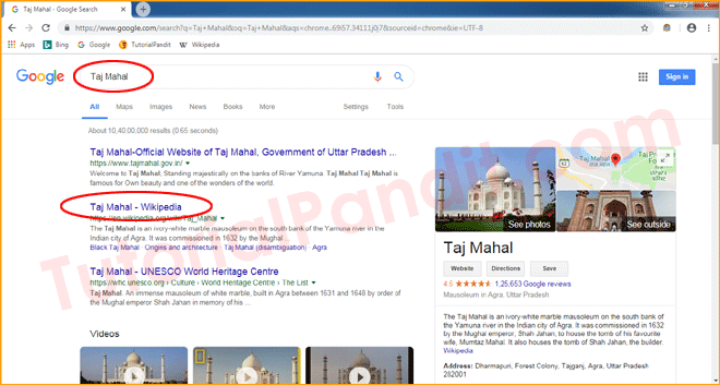 Google Search Result Page in Chrome Browser