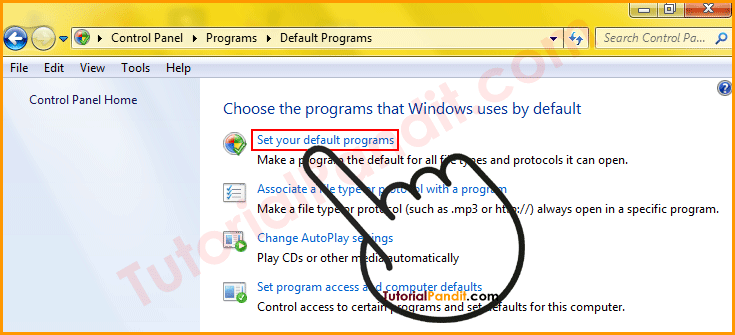 Set Your Default Programs to Set Chrome Default Browser