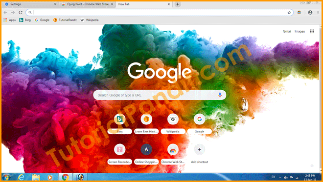 Chrome BRowser Homepage with Installed Theme in Hindi
