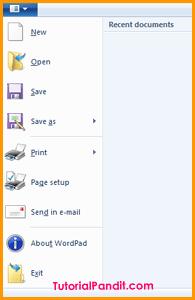 WordPad Button Menu in Hindi