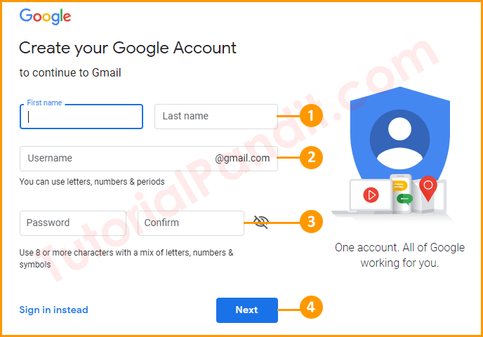 Fill Out Complete Form to Create Your Gmail Account in Hindi