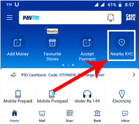 Find Nearby KYC Center of Paytm