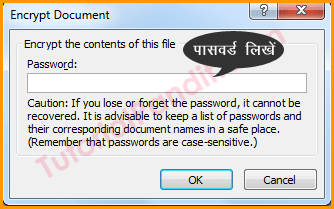Enter Password to Protect Document