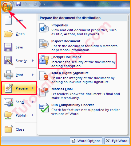 Office Button Showing Encrypt Document Option