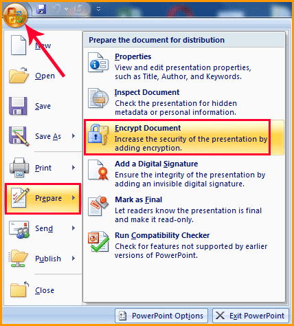 Office Button Encrypt Document PowerPoint