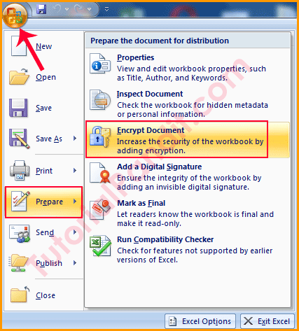 Office Button Encrypt Document Excel