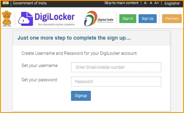 Create Your DigiLocker Username and Password