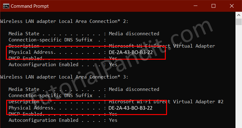 Showing MAC Address in Windows Command Prompt