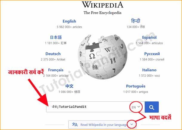 Changing Wikipedia Language in HIndi