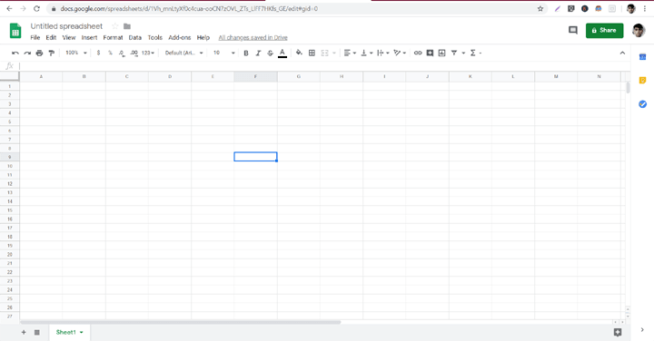 Google Sheets Homescreen
