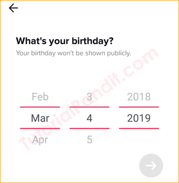 Type Your Date of Birth