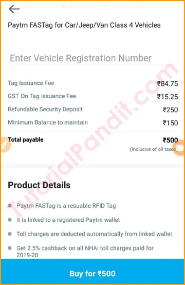Make Payment to Buy FasTag from Paytm