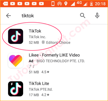 Search TikTok in Play Store Search Bar