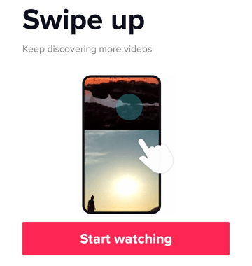 Swipe up to watch tiktok videos on your mobile