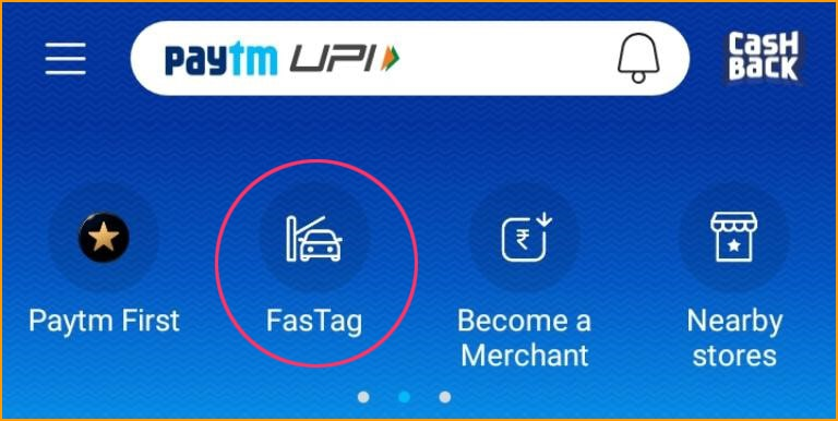 Select FasTag on Paytm Menu