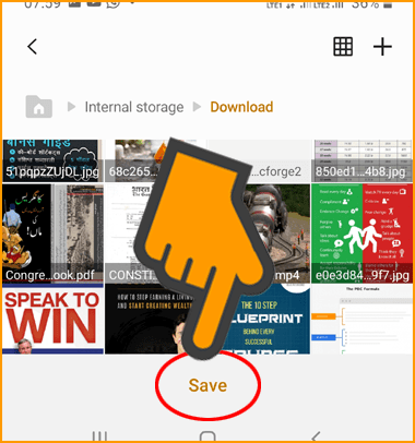 Choose File Destination to Save Webpage in Your Phone