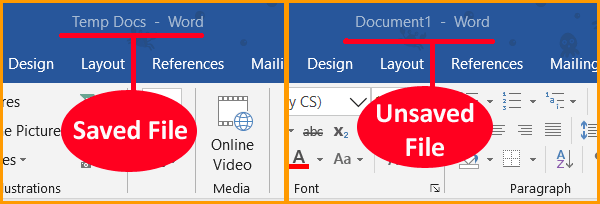 Word Document Saved or Unsaved Status