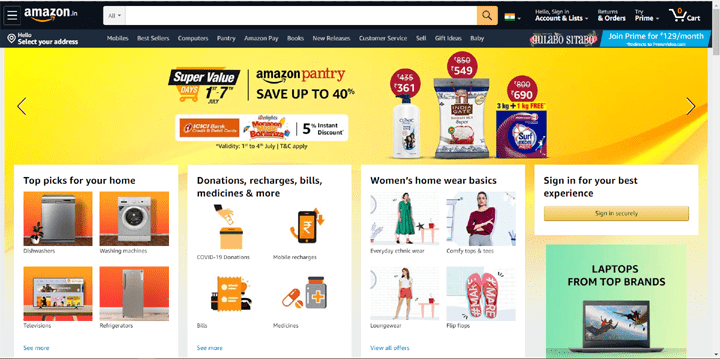 Amazon India Homepage