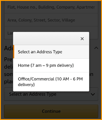 Amazon Delivery Address Type