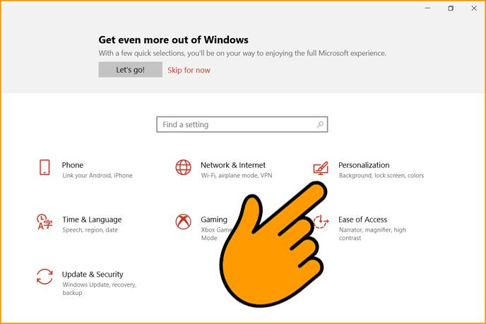 Choose Personalization Settings in Windows 10