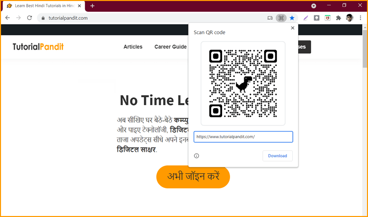 QR Code made by Chrome Browser