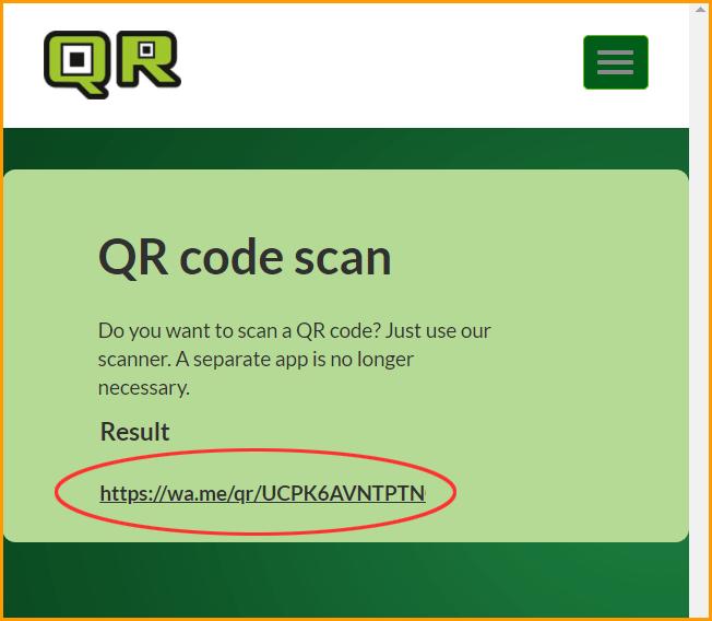 Scanning Result after QR Code Scanned