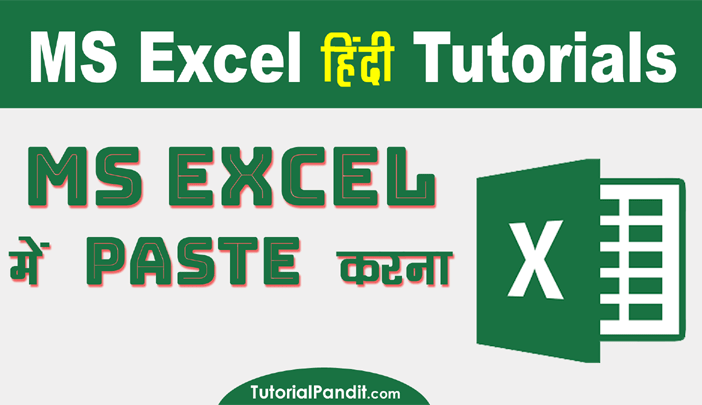 Using Paste in Excel in Hindi